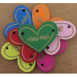 """5 stk hjerte trælabels 2,3 x 3 cm """"Hand made"""", ass farver"""