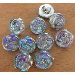 Multifarvet rose plastikknap. Pose med 10 knapper, 13mm.