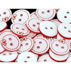 Plastknapper med rød sommerfugl og syninger, Pose med 10 stk. 13mm