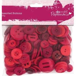 Pose med 250g blandede røde knapper i assorterede størrelser