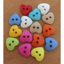 Hjerte plastknapper, Pose med 15 blandede farver 12,5mm