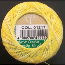 Anchor Artiste blondegarn multifarvet gul 01217, størrelse 80, 5g