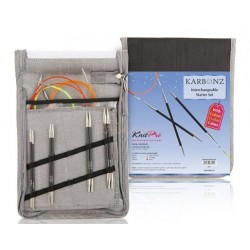KnitPro Karbonz, udskifteligt rundpindesæt (farvede wirer) 3mm - 4,5mm