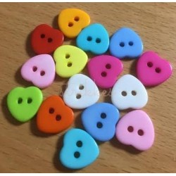 Hjerte plastknapper, Pose med 15 blandede farver 11mm