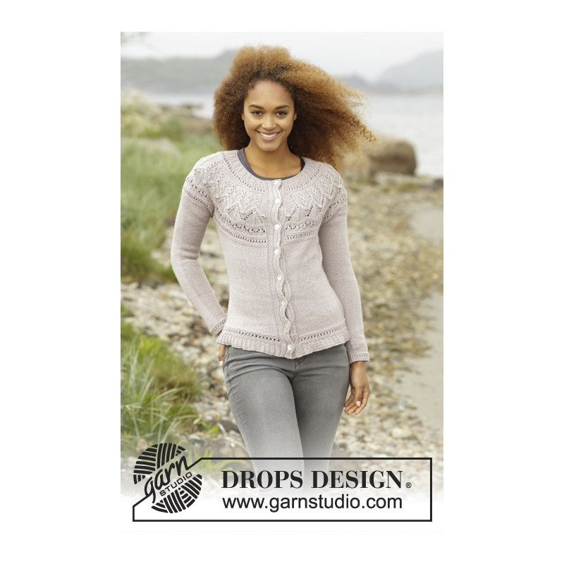 630daafaf Crystal Bright Cardigan by DROPS Design S-XXXL DROPS BABYALPACA SILK