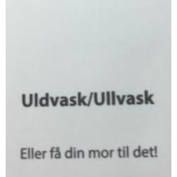 "Label ""Uldvask/Ullvask"" 3,5 x 4,4 cm i hvid"