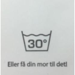 """Label """"vask 30 grader"""" 3,5 x 4,4 cm i hvid"""