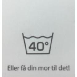 """Label """"vask 40 grader"""" 3,5 x 4,4 cm i hvid"""