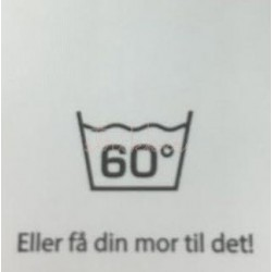 """Label """"vask 60 grader"""" 3,5 x 4,4 cm i hvid"""