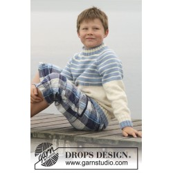Water Stripes by DROPS Design 3 år-14 år DROPS MERINO EXTRA FINE