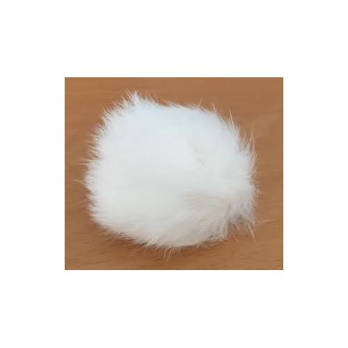 Pompon kanin kvast hvid 40 - 60 mm