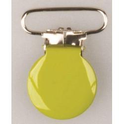 Rund seleclips i metal. Lime/sølv - 1 stk